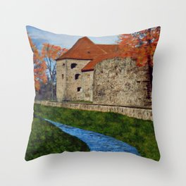 River next to the Castle Throw Pillow