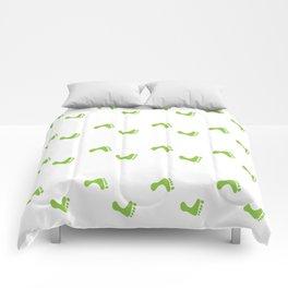Walk On - Grass Green Feet Pattern Comforters