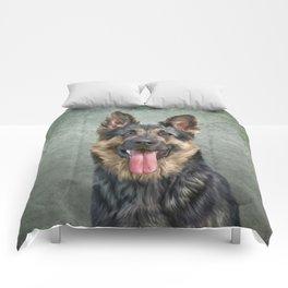 German Shepherd dog. Drawing, illustration funny dog Comforters