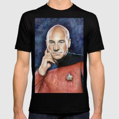 Captain Picard Black Mens Fitted Tee LARGE
