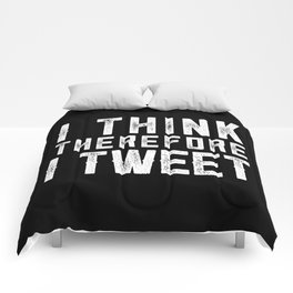 I think therefore I tweet (on black) Comforters