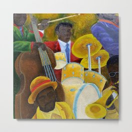 African American Masterpiece 'Jazz Band at the Apollo' portrait painting Metal Print