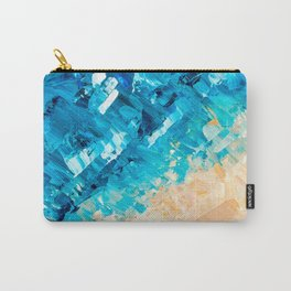 Deep | Abstract blue turquoise ocean beach acrylic brushstrokes painting Carry-All Pouch