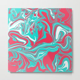 Turquoise Pink and White 90s Fiesta Metal Print
