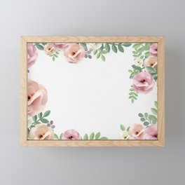 Pink Floral Watercolor Design Framed Mini Art Print