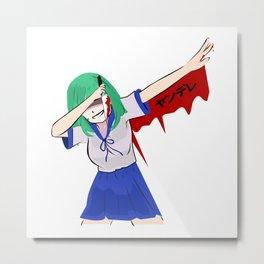 Dabbing Yandere Cosplay Kawaii Anime Senpai Metal Print
