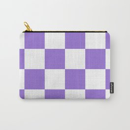 Large Checkered - White and Dark Pastel Purple Carry-All Pouch