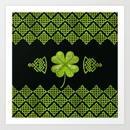 Irish Shamrock Four-leaf clover with celtic decor Art Print