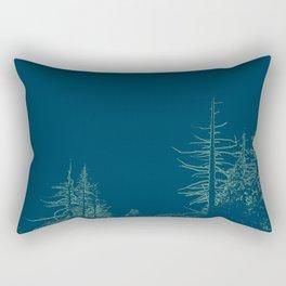 Wintry scene in moody blue Rectangular Pillow