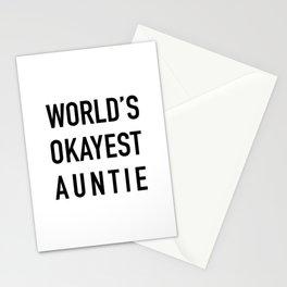 WORLD'S OKAYEST AUNTIE Black Typography Stationery Cards