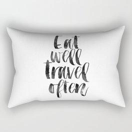 travel poster,travel gift,eat well travel often,kitchen decor,wall art,home decor,quote prints Rectangular Pillow