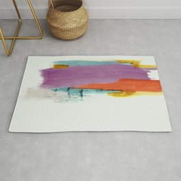 Aly: a colorful, minimal, abstract piece in bold purple, blue, orange, and yellow Rug