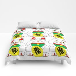 Three Wise Lucky Cats Comforters