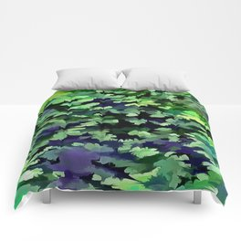 Foliage Abstract Camouflage In Forest Green and Black Comforters