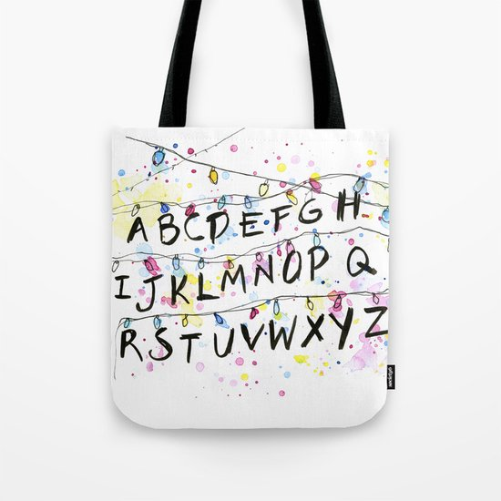 Stranger Things Alphabet Wall Christmas Lights Typography Tote Bag