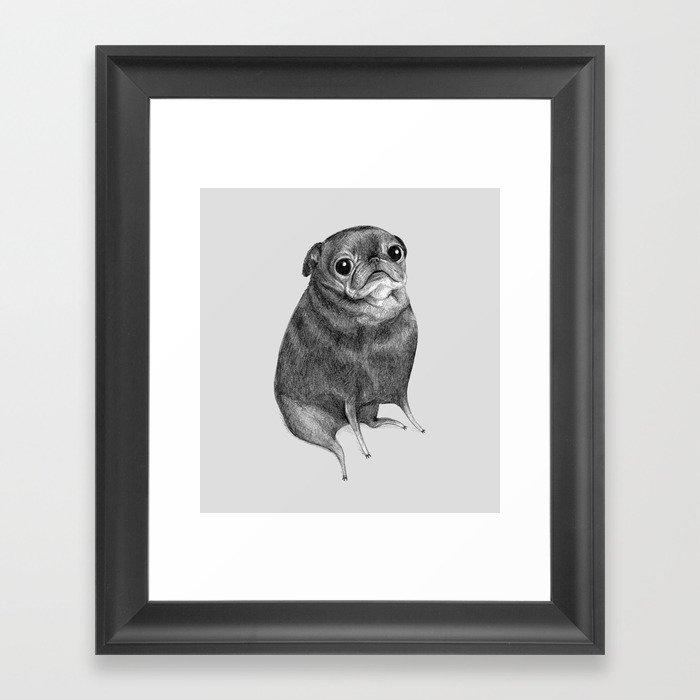 Sweet Black Pug Gerahmter Kunstdruck