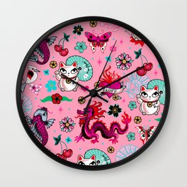 Lucky Cat Maneki Neko , Dragons and Koi fish On Pink Wall Clock