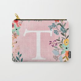 Flower Wreath with Personalized Monogram Initial Letter T on Pink Watercolor Paper Texture Artwork Carry-All Pouch
