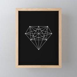 Geometric Black and White lowpoly Polygonal Diamond Shape Design Valentines Day Gift for Girlfriend Framed Mini Art Print