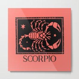 Scorpio Vintage Zodiac on Living Coral Metal Print