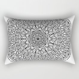 Circle of Life Mandala Black and White Rectangular Pillow