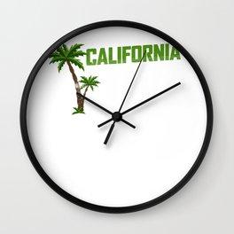California Love Palm Tree California Lover Gift Wall Clock