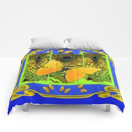BLUE ART NOUVEAU YELLOW BUTTERFLIES GREEN ART Comforters