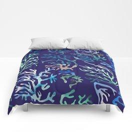 underwater blue corals Comforters