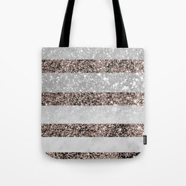 White Marble Rose Gold Glitter Stripe Glam #2 #minimal #decor #art #society6 Tote Bag