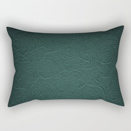 Forest Green Tooled Leather Rectangular Pillow