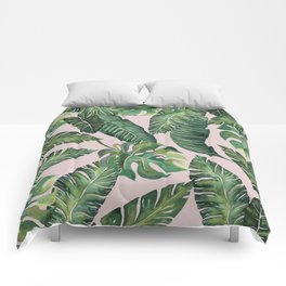 Jungle Leaves, Banana, Monstera Pink #society6 Comforters