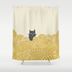 Cat and Yarn Shower Curtain
