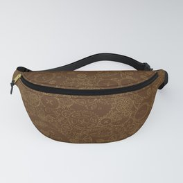 Clockwork Retro / Cogs and clockwork parts lineart pattern in brown and gold Fanny Pack