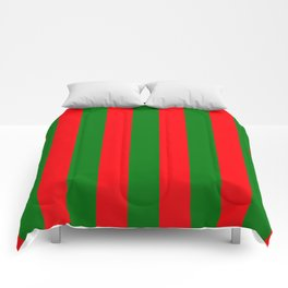 Wide Red and Green Christmas Cabana Stripes Comforters