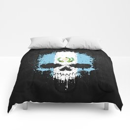 Flag of Guatemala on a Chaotic Splatter Skull Comforters