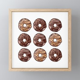 Chocolate Donuts Pattern Framed Mini Art Print