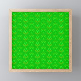 Pattern of intersecting hearts and stripes on a green background. Framed Mini Art Print