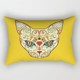 Sugar Skull Cat Rectangular Pillow
