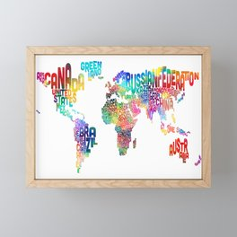Typography Text Map of the World Framed Mini Art Print
