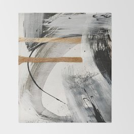 Armor [7]: a bold minimal abstract mixed media piece in gold, black and white Throw Blanket