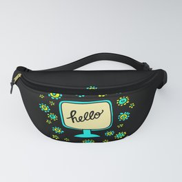 hello vintage flower power Fanny Pack