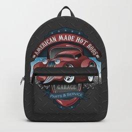 American Hot Rods Garage Vintage Car Sign Cartoon Backpack