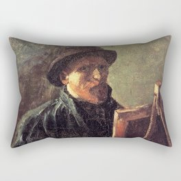 Self-Portrait with Dark Felt Hat at the Easel by Vincent van Gogh Rectangular Pillow