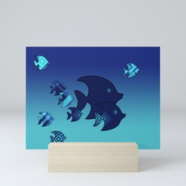 Nine Blue Fish with Patterns Mini Art Print