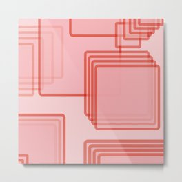 Pink Tech Squares Abtract Metal Print