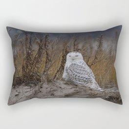 Snowy Owl on dune Rectangular Pillow