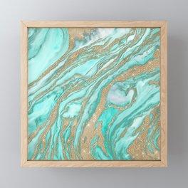 Gold Sequin Glitter Teal Smoky Marble Framed Mini Art Print