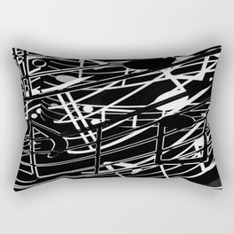 music note sign abstract background in black and white Rectangular Pillow
