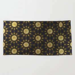 Islamic decorative pattern with golden artistic texture Beach Towel