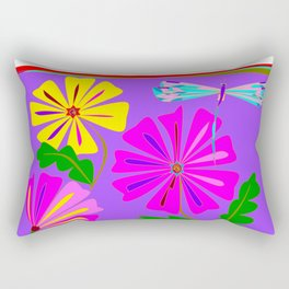 A Spring Floral Design with a Dragonfly Rectangular Pillow